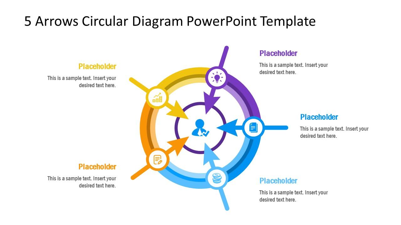 5 Steps Circular Arrows PowerPoint Diagram
