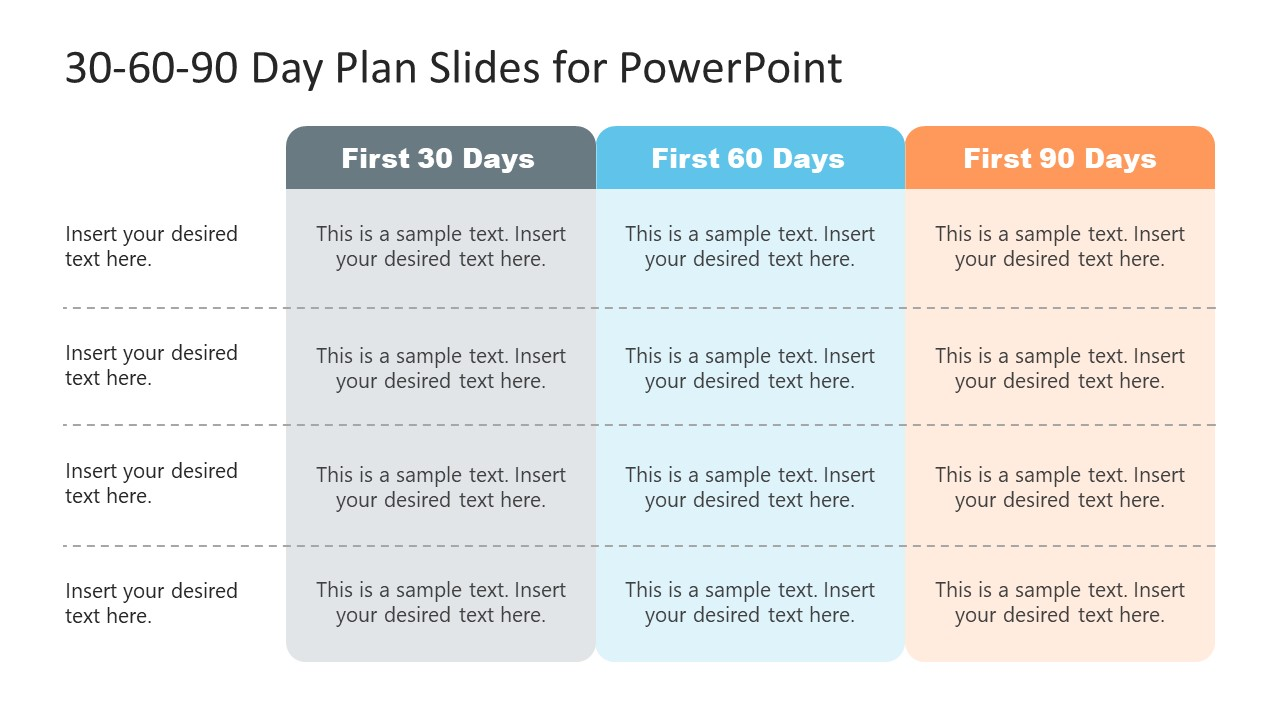 Template for 30-60-90 Day Plan Table