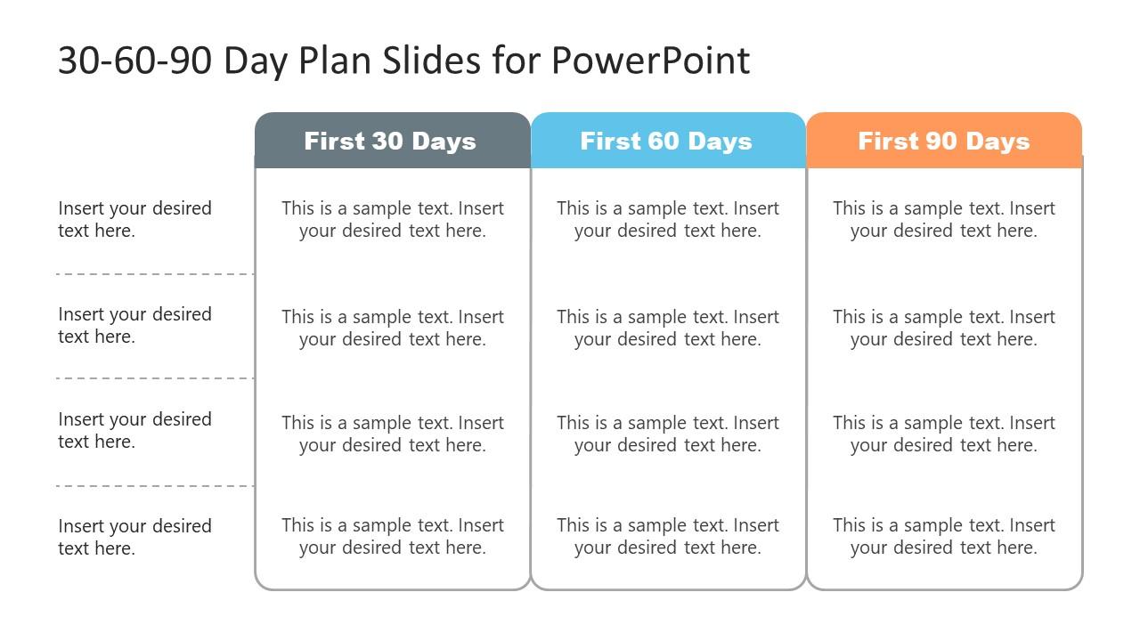 3 Columns 30-60-90 Day Plan Template