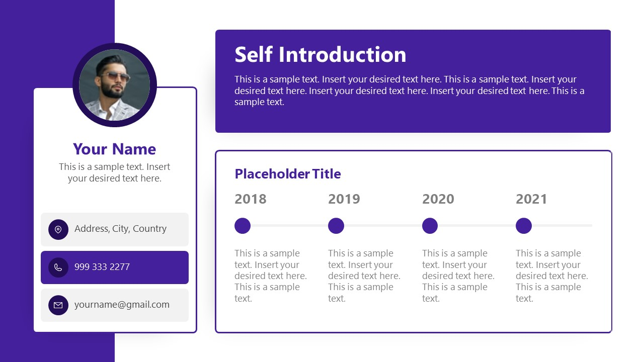 3 Segments Self Introduction PowerPoint
