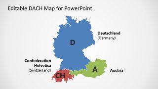 PowerPoint Silhouette Maps of Germany Austria Switzerland
