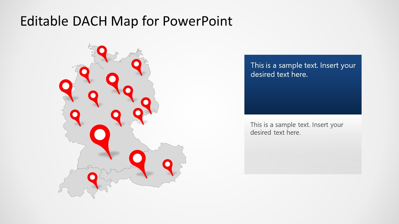 Flat Editable Map for DACH Countries PPT