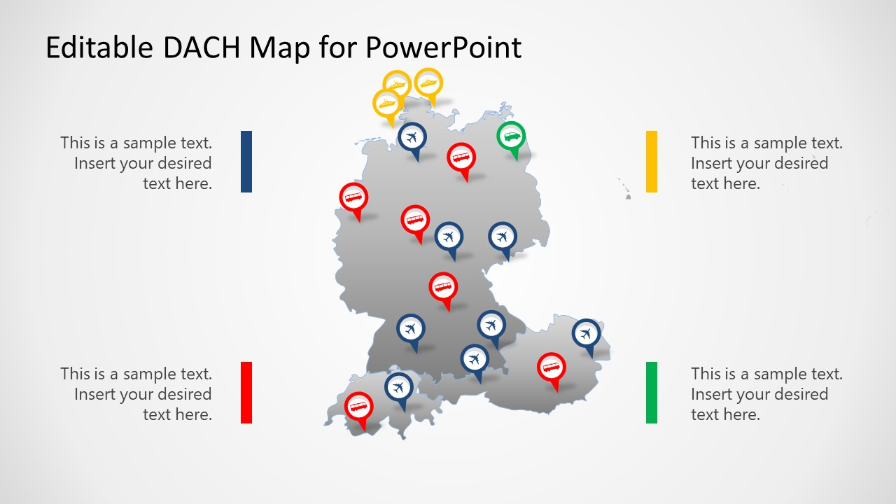 PowerPoint Editable Map of DACH Countries