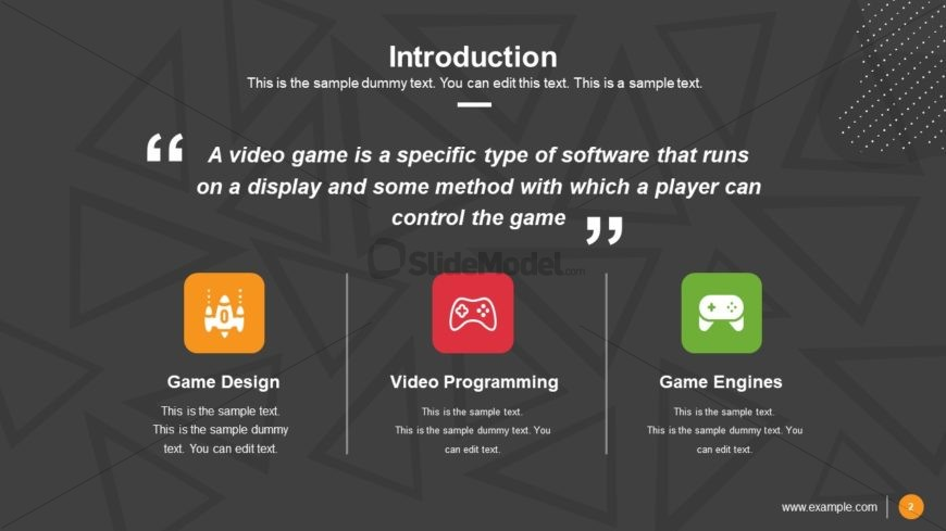 Template of Video Game Pitch Deck Introduction