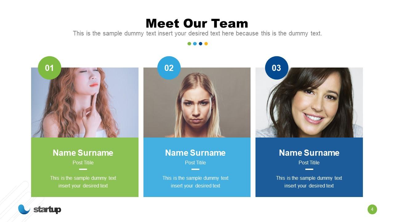 Team Profile in Startup Presentation