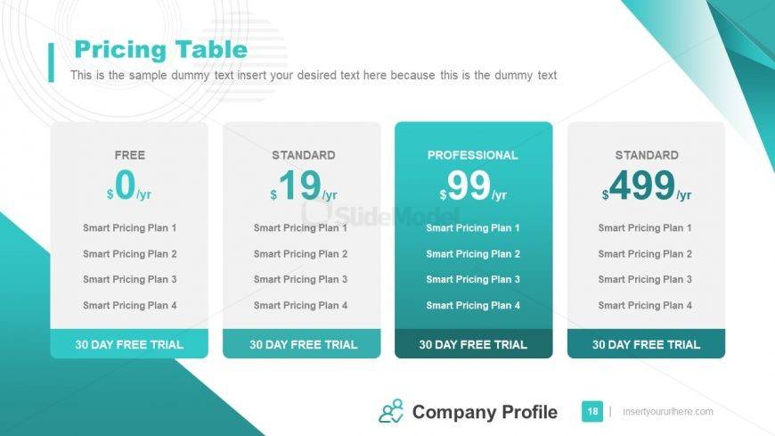 Business Services Pricing Table