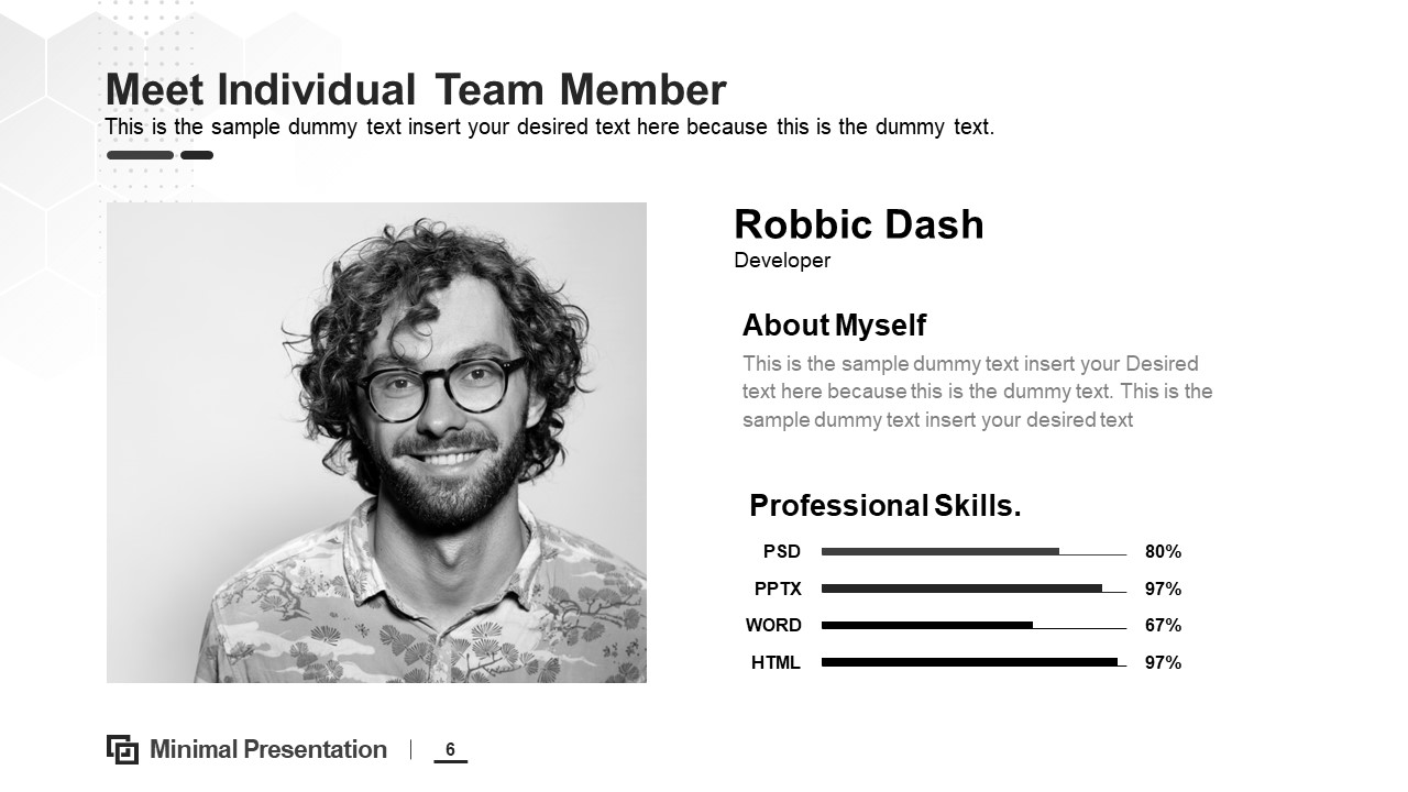 team resume presentation profile