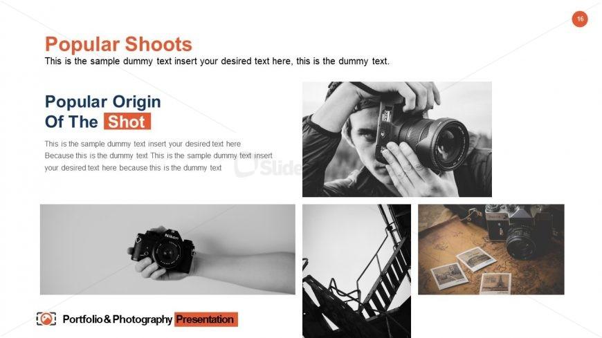Portfolio & Photography Slide of Shoots