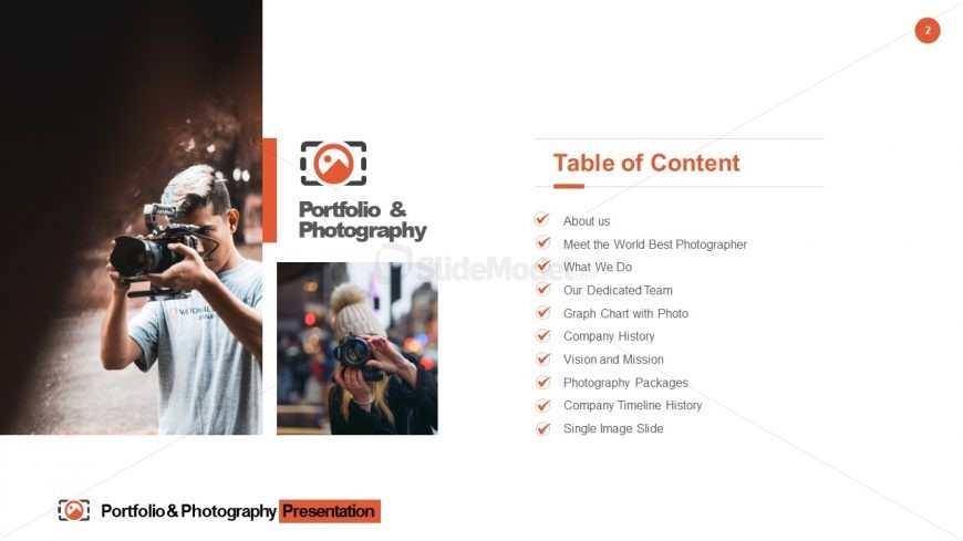 PowerPoint Agenda Slide of Portfolio & Photography