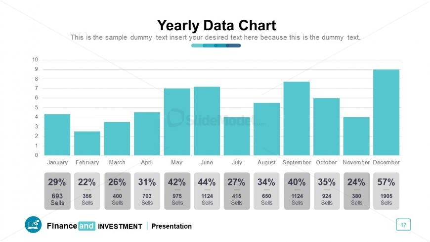Bar chart data-driven graph presenting monthly financial growth