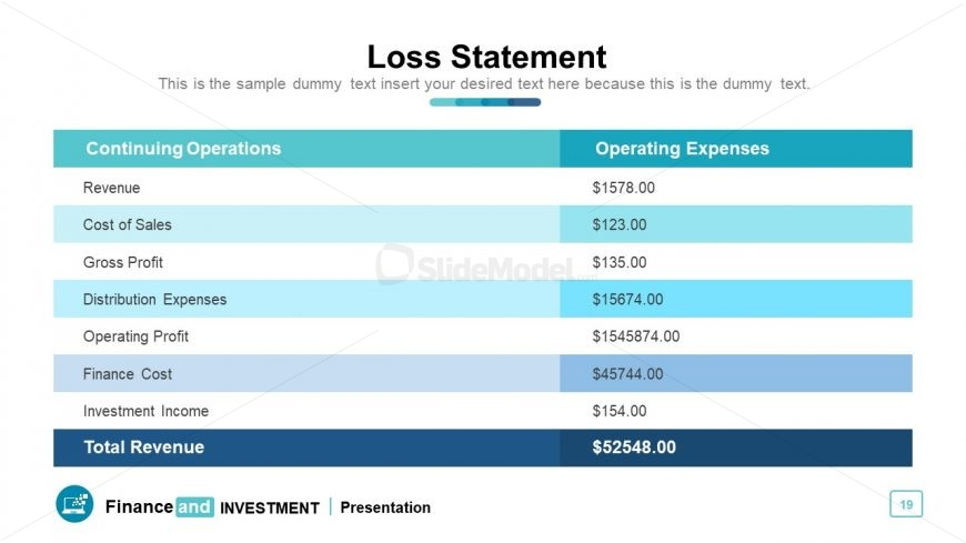 Financial statement template Table
