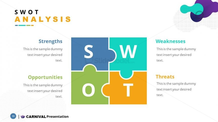 SWOT Jigsaw Puzzle PowerPoint