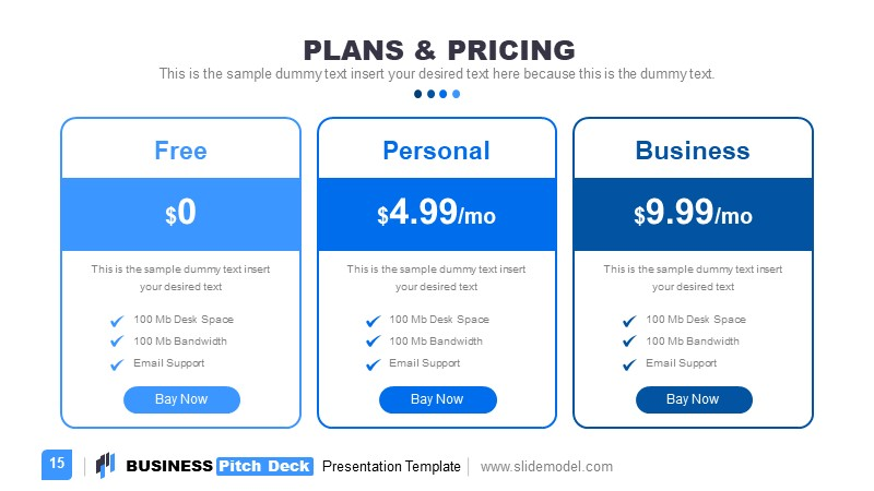 Pricing and Plans Template with Columns