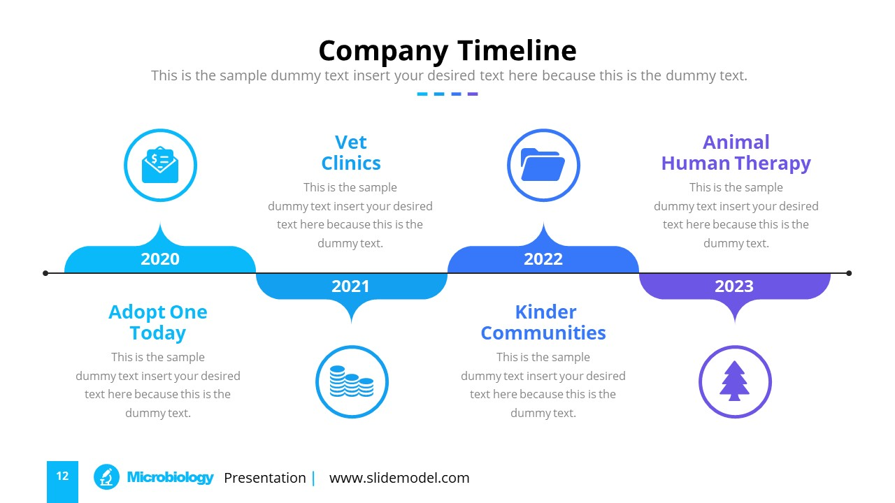 Horizontal Timeline PowerPoint Diagram