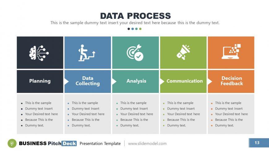 5 Steps Process Flow Diagram template
