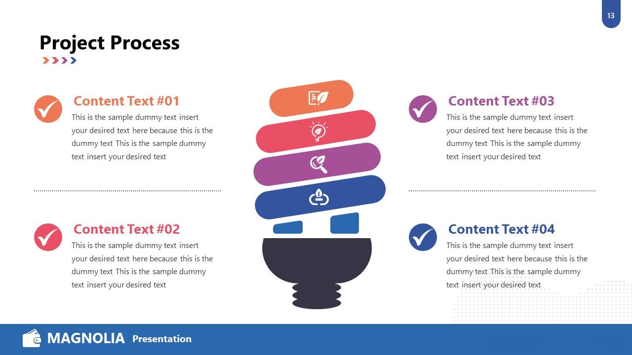 Lightbulb 4 Steps Diagram