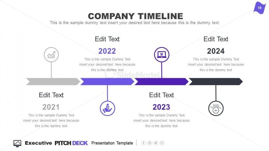 Horizontal Timeline PowerPoint Executive Pitch Deck