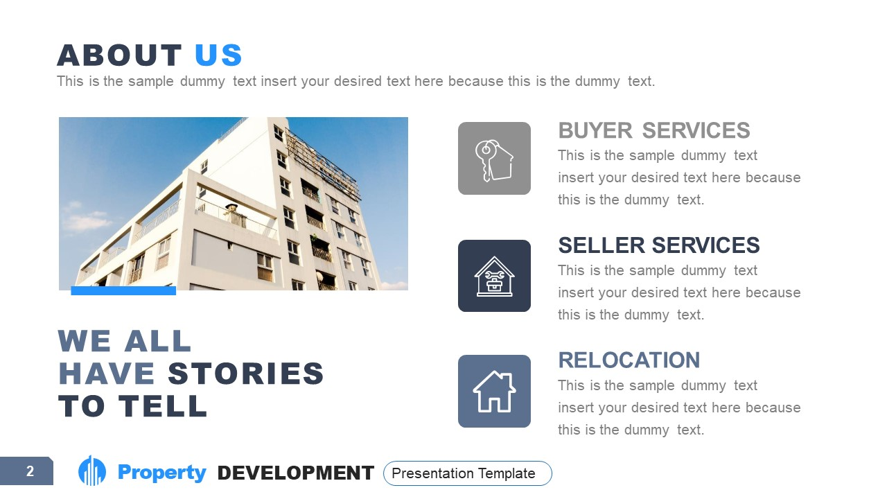 Company About Us Layout for Property Development