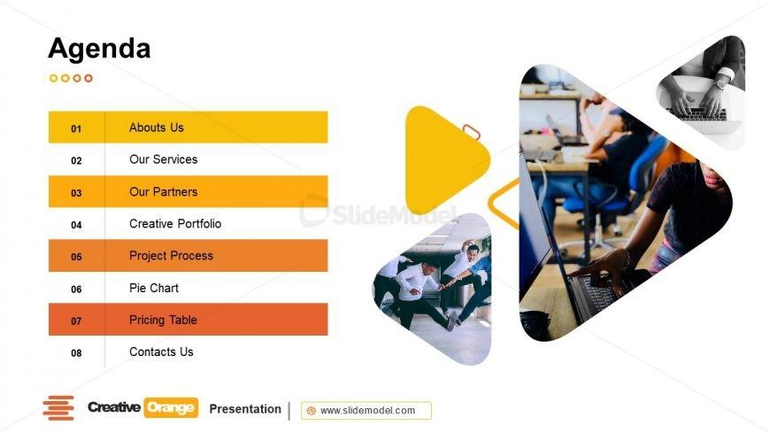 Orange Theme PowerPoint Agenda Template