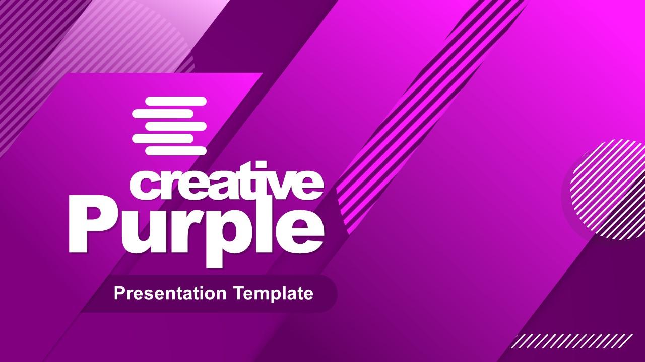 Presentation of Cover Creative Purple Template