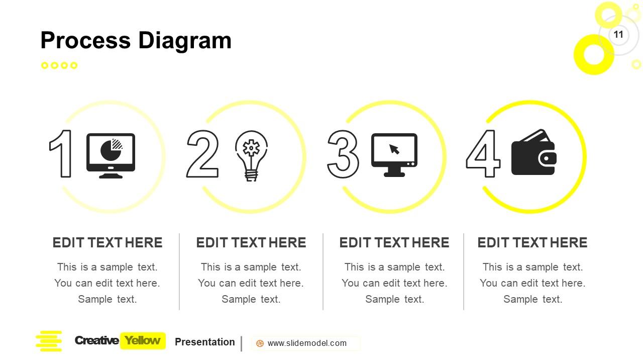 PowerPoint Process Diagram Slide Yellow Theme