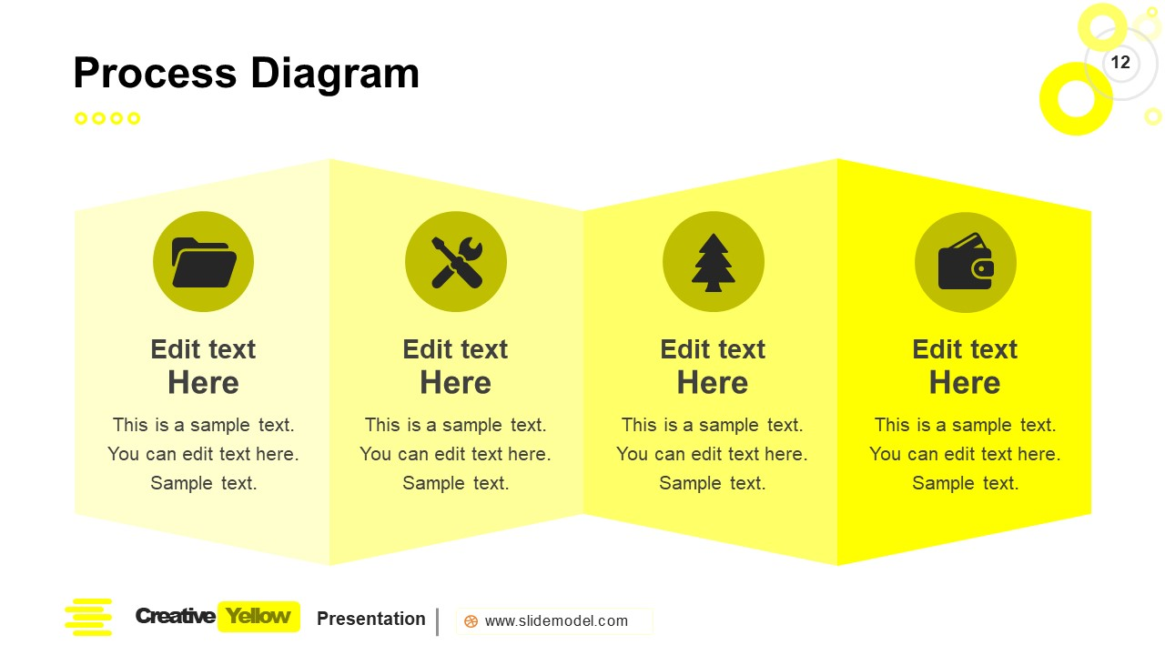 PowerPoint 4 Steps Process Flow Slide Yellow Theme