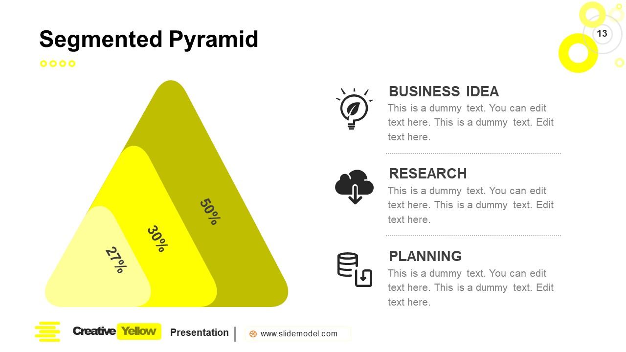 PowerPoint Pyramid Segment Slide Yellow Theme