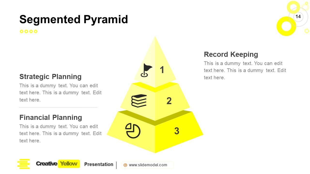 PowerPoint 3D Pyramid Slide Yellow Theme