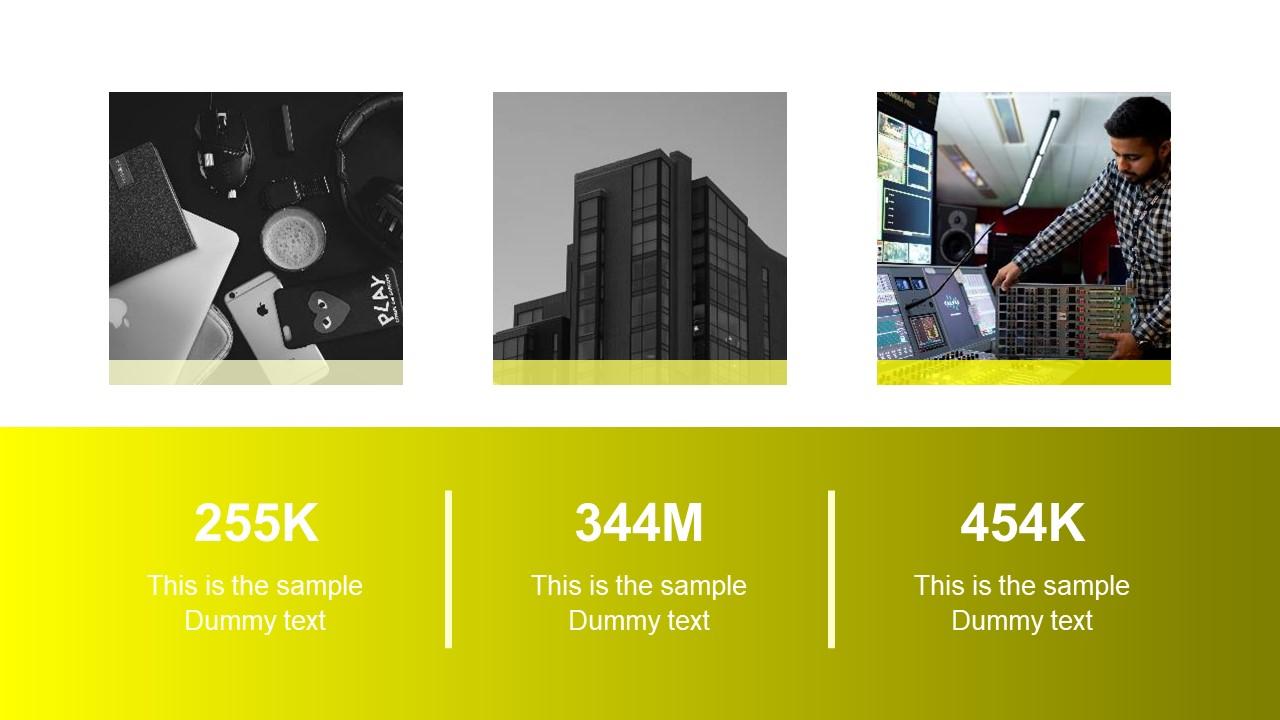 PowerPoint 3 Segment Slide Yellow Theme