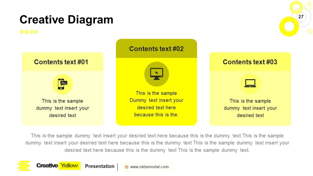PowerPoint 3 Segment Columns Slide Yellow Theme