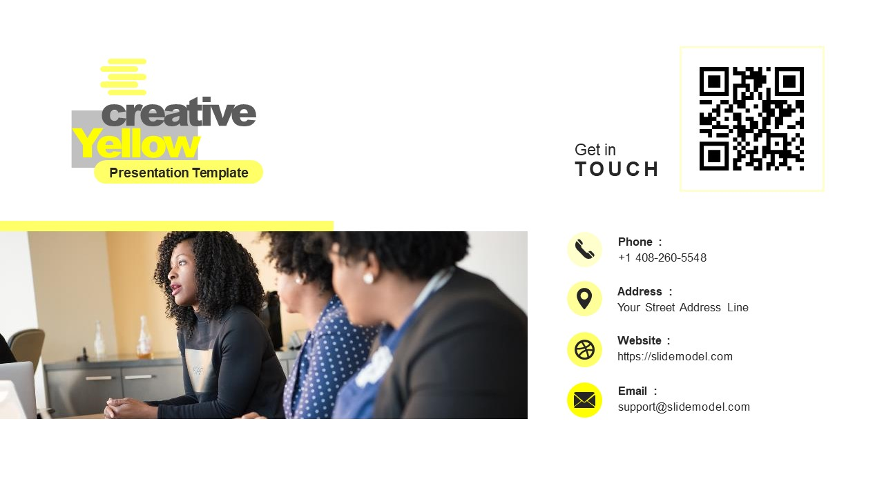 PowerPoint Contacts Slide Yellow Theme
