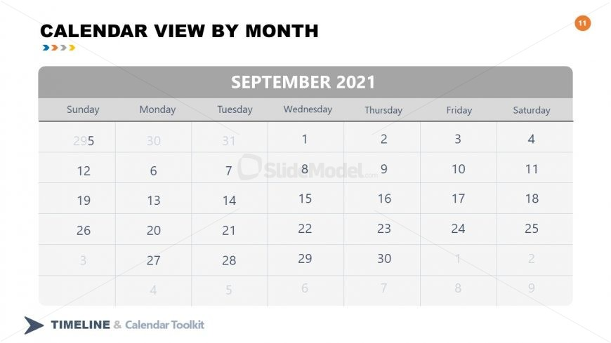 PPT Slide September Calendar 2021