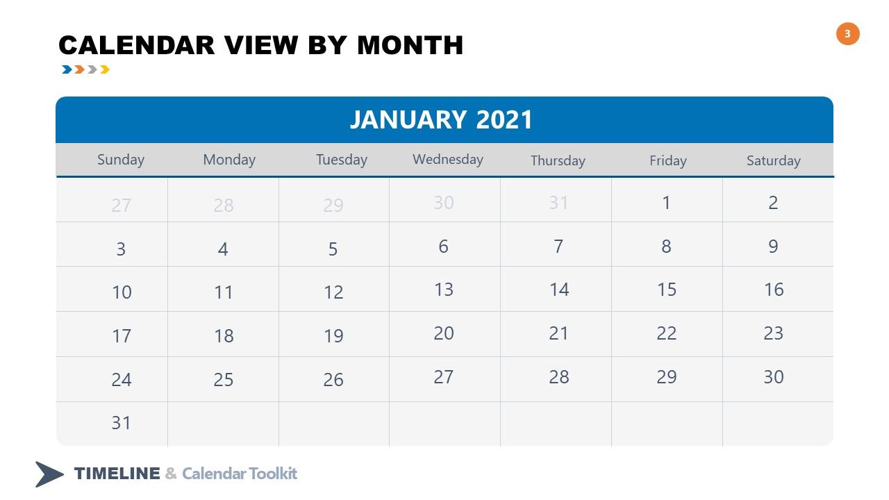 2021 January Calendar PowerPoint Slide - SlideModel