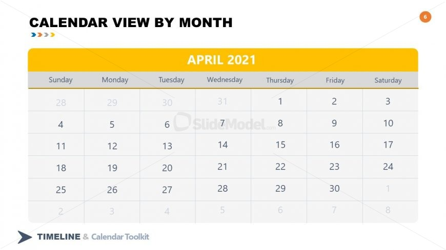 PPT Slide April Calendar 2021