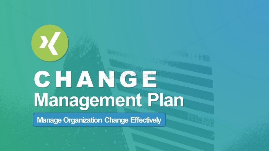 Cover Slide of Change Management Plan