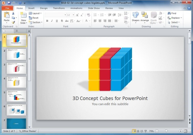 3D Big Data Concept Cubes for PowerPoint
