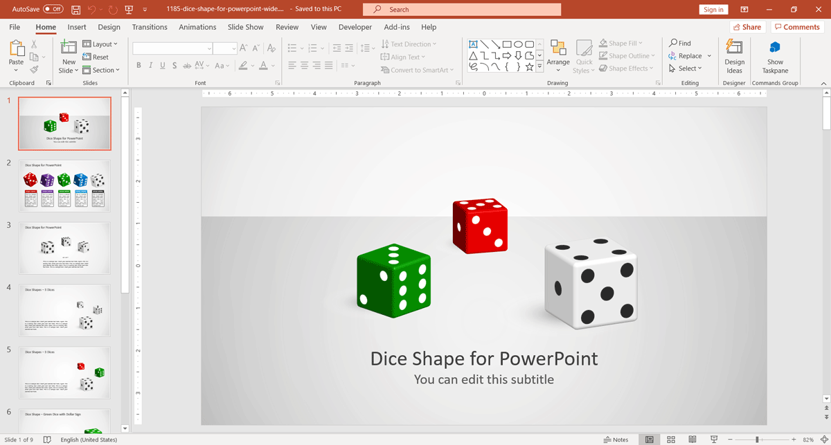 3D Dice PowerPoint Template