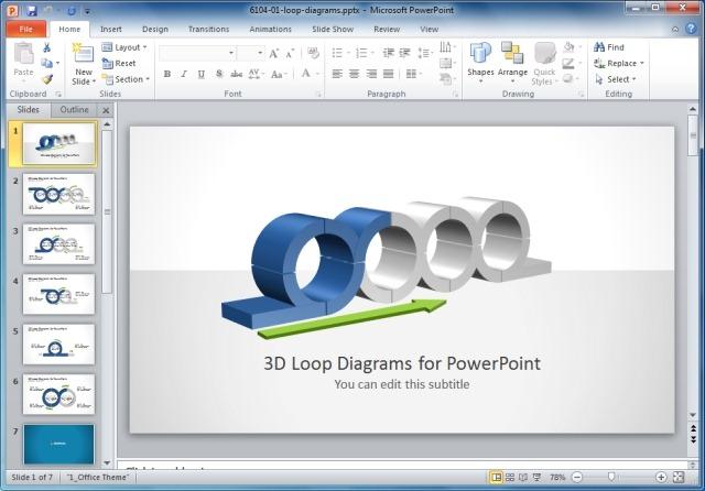 3D Loop Diagrams Template For PowerPoint