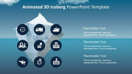 PowerPoint Iceberg 3D Object with PowerPoint Icons