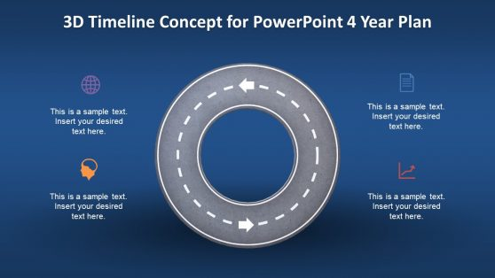 3D Animated 4 Year Timeline PPT