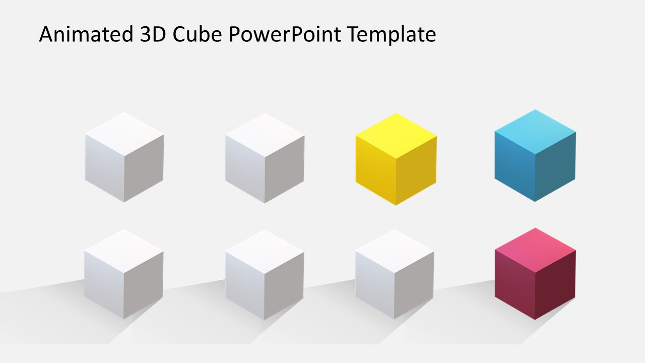 Animated 3d Cube Powerpoint Template Slidemodel Diagram 8 Slide Of Colorful Objects 4 Steps Editable