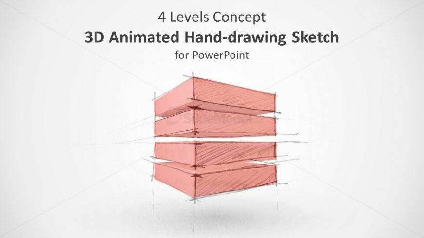 3D Animated 4 Level Structure for PowerPoint