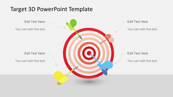 4 Step Target and Darts Diagram PPT