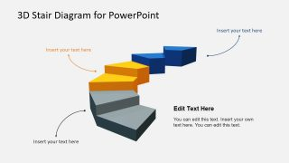 Animated 3D Three Segments Stairs Diagram Template for PowerPoint