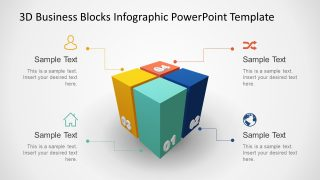 Animated 3D Business 4 Blocks Diagram for PowerPoint