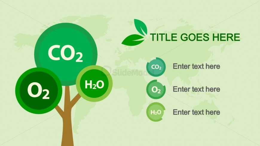CO2, O2 & H2O Slide Design with Tree Clipart for PowerPoint