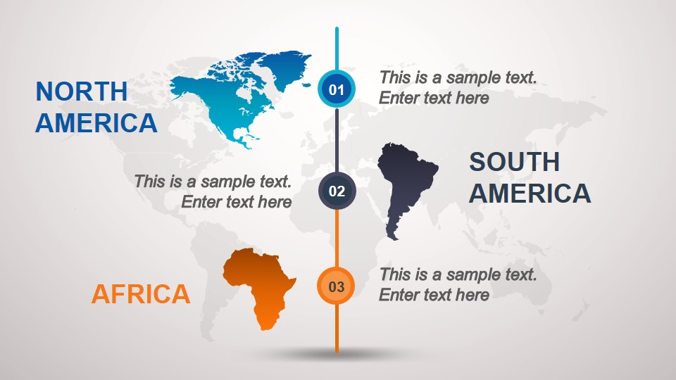 Maps of South America, North America & Africa Slide for PowerPoint
