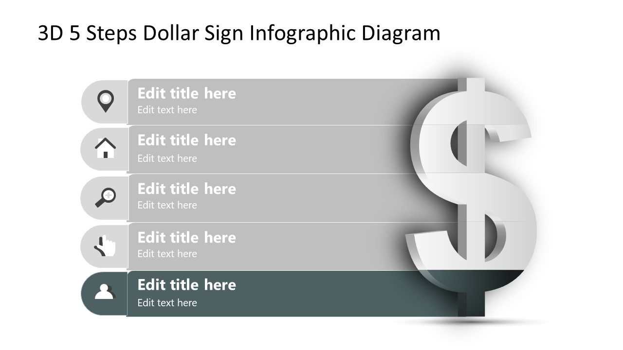 Infographic Diagram Step 5 Dollar Sign PPT