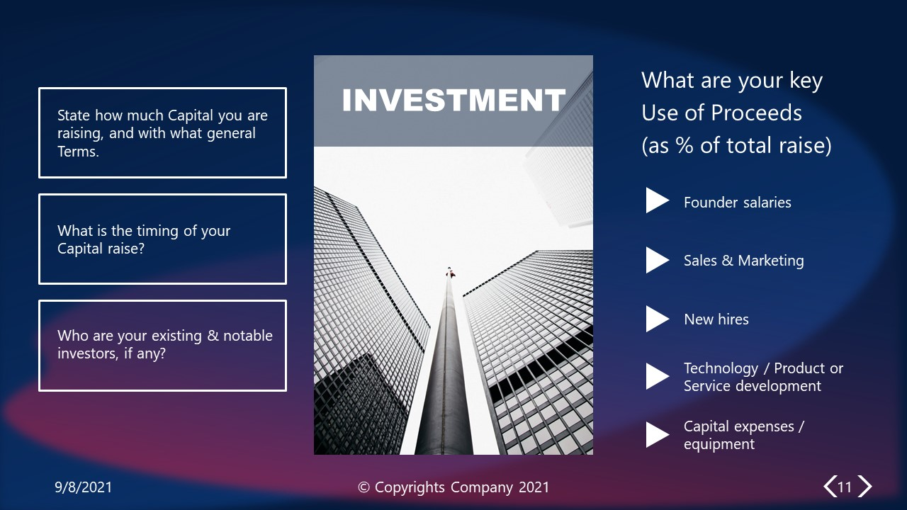 PowerPoint Elevator Pitch Investment  Slide