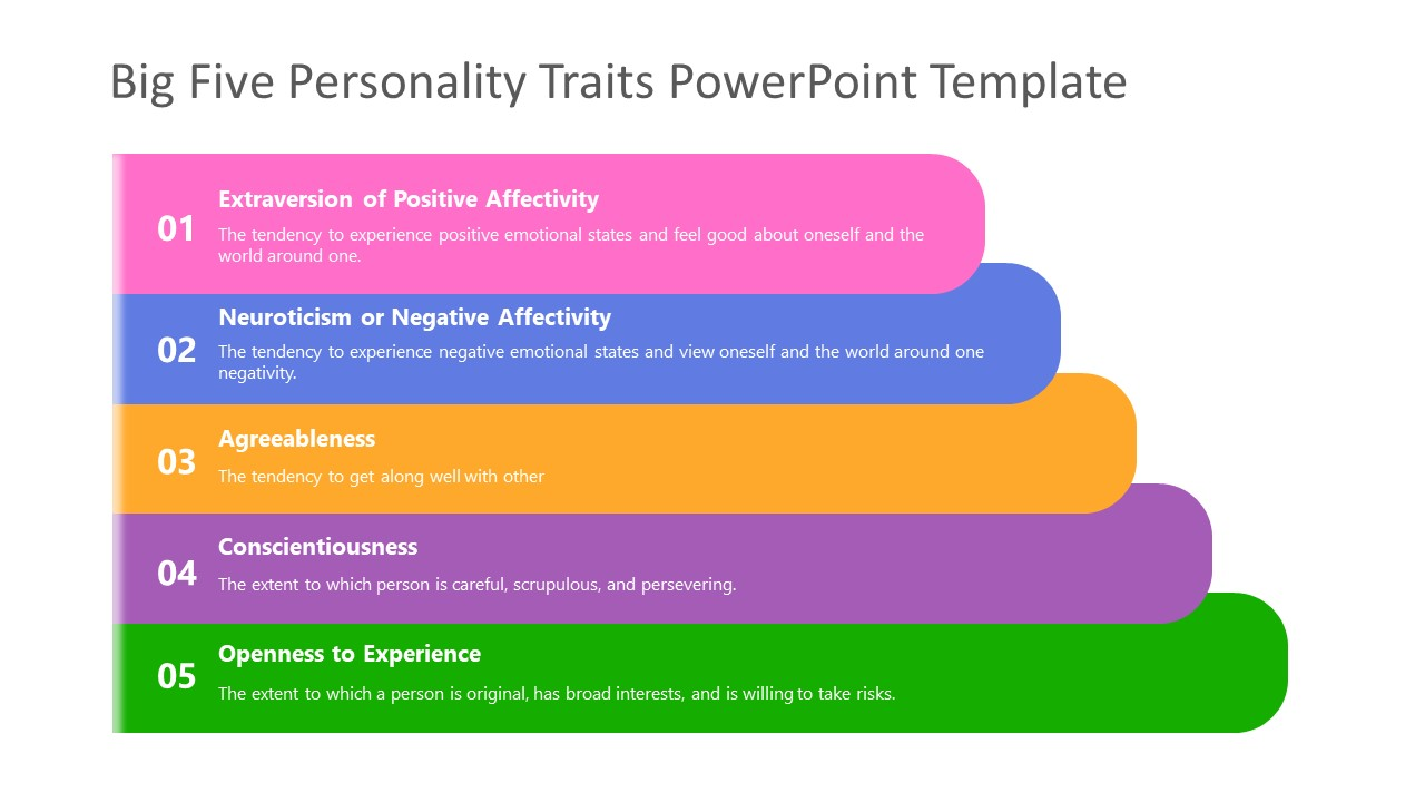 5 Steps Diagram for Personality Traits